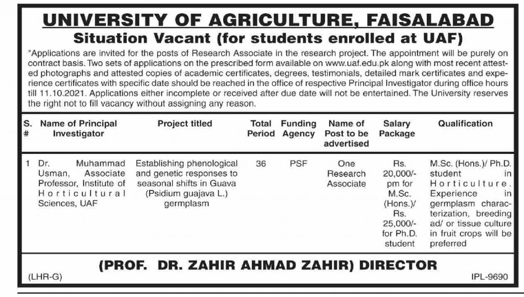 Agriculture University Latest Jobs 2021