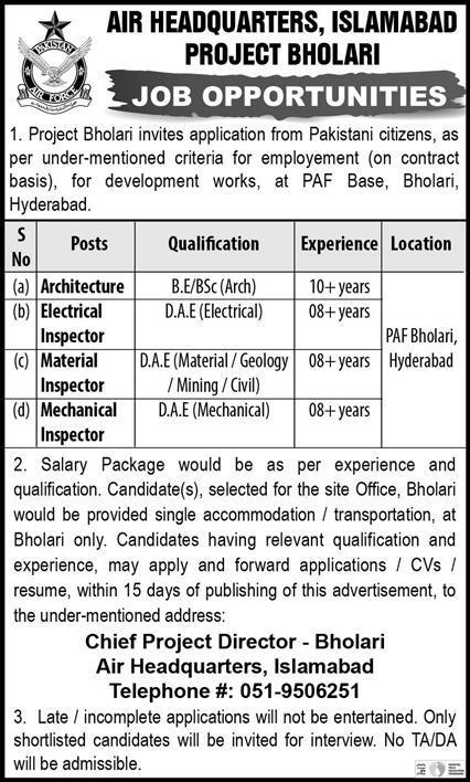 PAF Base Air Headquarter Islamabad Jobs 2021
