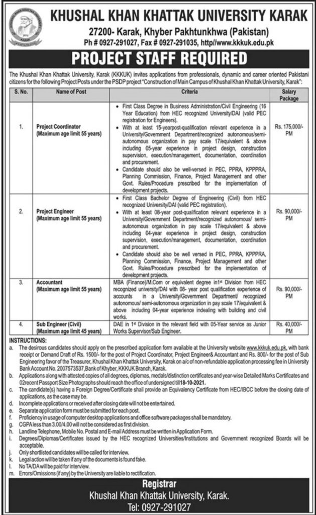 Khushal Khan Khattak University Karak Jobs 2021