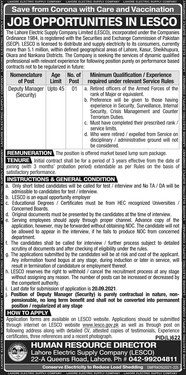 Lahore Electric Supply Company Limited LESCO Jobs 2021