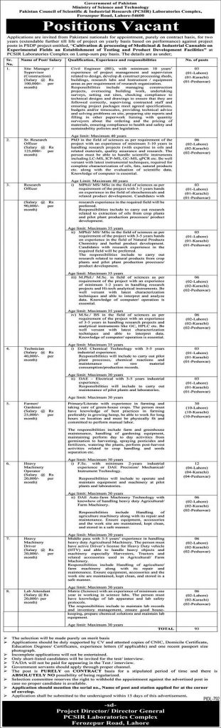 Ministry of Science and Technology PCSIR Jobs 2021