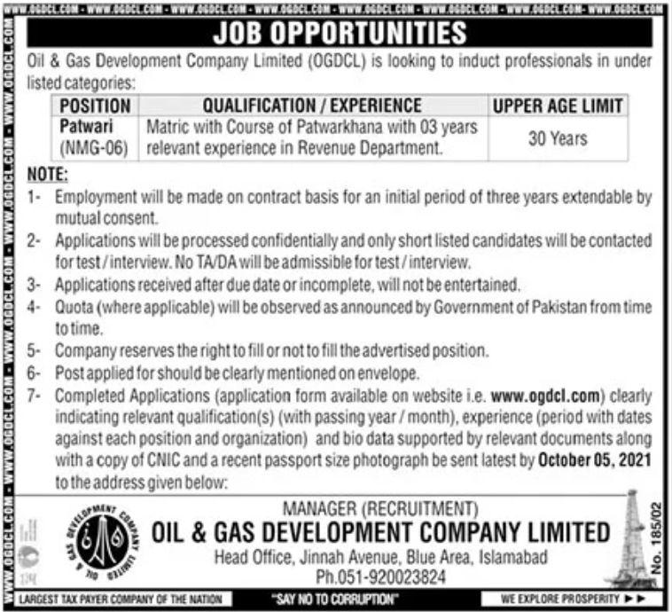 OGDCL Oil and Gas Latest Jobs 2021