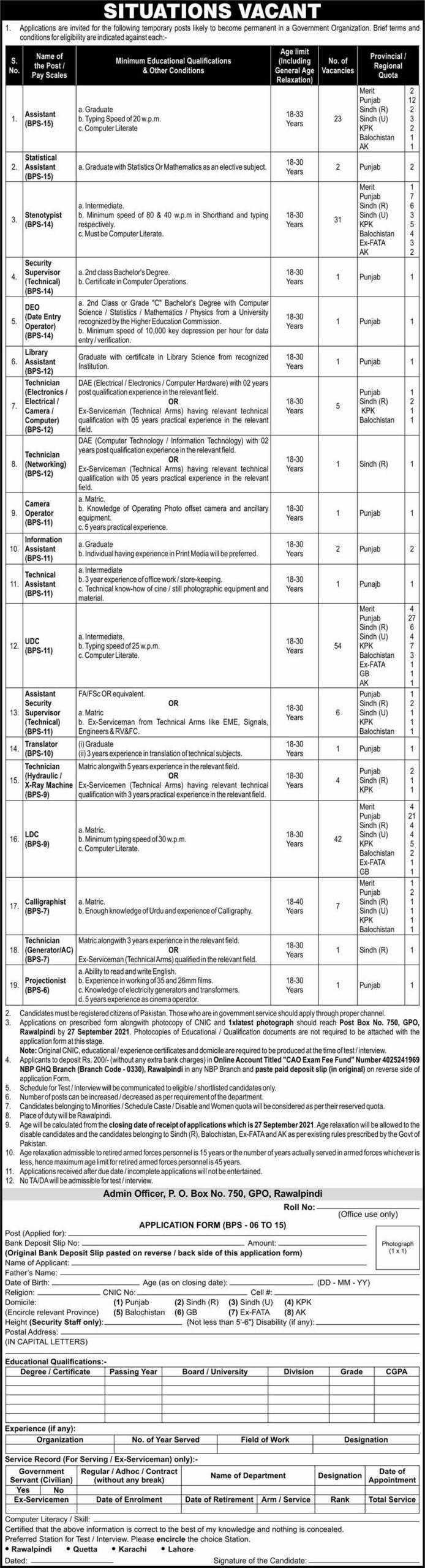 Pak Army Po Box GPO 750 Rawalpindi Jobs 2021