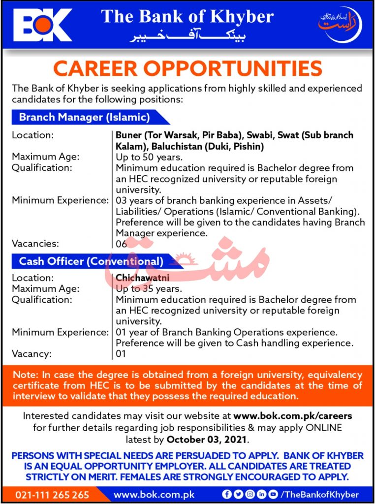BOK The Bank Of Khyber Latest Jobs 2021