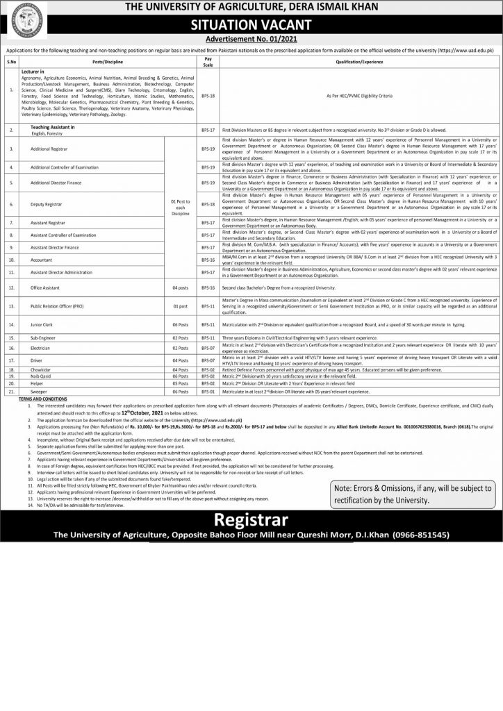 University of Agriculture Latest Jobs 2021