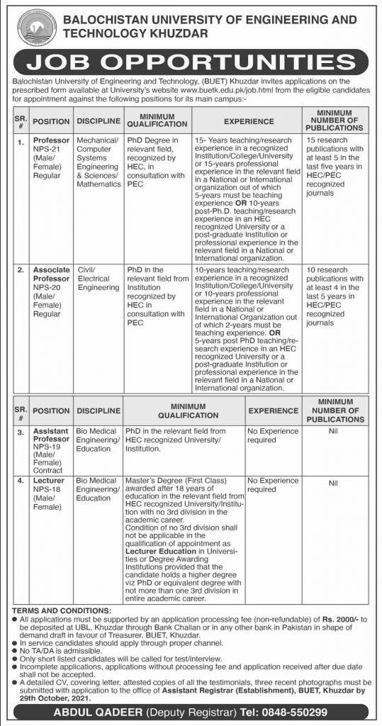 Balochistan University BUET Latest Jobs 2021