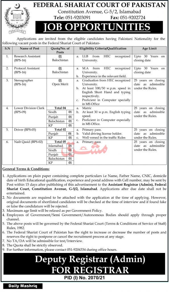 Federal Shariat Court Pakistan Jobs 2021