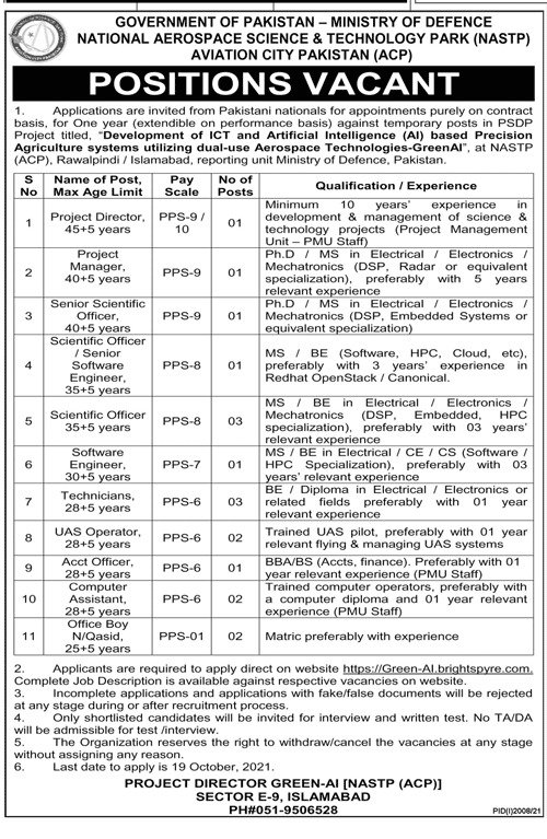 Ministry of Defence ISI Jobs 2021 Advertisement