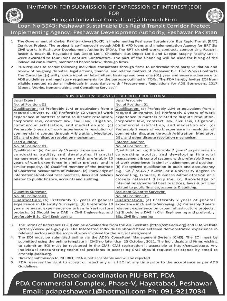Peshawar Development Authority Jobs 2021