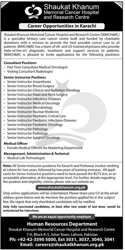 Shaukat Khanum Hospital Jobs 2021